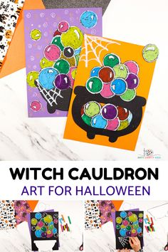 Double, double toil and trouble; fire burn and the cauldron bubble - Have lots of hocus pocus arty crafty fun with our Witch Cauldron Art for Halloween. Perfect for kids of all ages, children will love playing with shape and color to create their magical and extremely colorful Halloween art! Halloween Crafts For Kids To Make, Halloween Art Projects, Halloween Activities, Halloween Kids, Projects For Kids, Ghost Crafts, Spider Crafts, Paint Marker Pen, Witches Cauldron