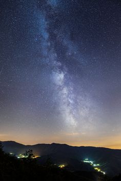 Night sky above the mountains of Foreste Casentinesi national park on the border between Tuscany and Emilia-Romagna, central Italy.