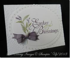 handmade Easter card ... clean and elegent layout ... beautiful calligraphy for the HAPPY EASTER ... luv the perfect bow and the placement on the card ... Stampin' Up!