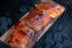 Cedar planked salmon with a spicy mustard honey glaze