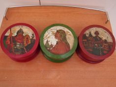 Lot 3 !! Antique Russian Russia Carved Wood Painted Folk Art Round Box Boxes Set