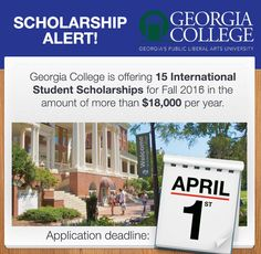 Georgia College is offering 15 International Student Scholarships for Fall 2016 in the amount of $18,000+ per year! You can inquire directly here: intladm@gcsu.edu http://www.gcsu.edu/international #scholarships #studyabroad #USeducation