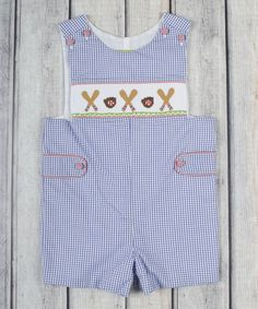 Look at this Royal Blue Gingham Baseball Smocked John Johns - Infant & Toddler on #zulily today!