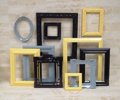 spray paint frames from garage sales- like the black, gray and maybe a different color for our living room