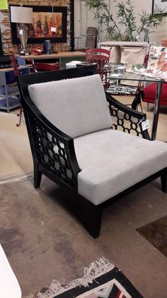 Occasional Chair – Black w/Grey Upholstery | The Millionaire's Daughter