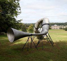 The Hear Heres (Kedleston Hall, Derby, UK) ← Projects ← Studio Weave Sound Sculpture, Sculptures, Poemas Haiku, Studio Weave, Metal Horns, Eco Architecture, Cat Sitting, Sustainable Design, New Art