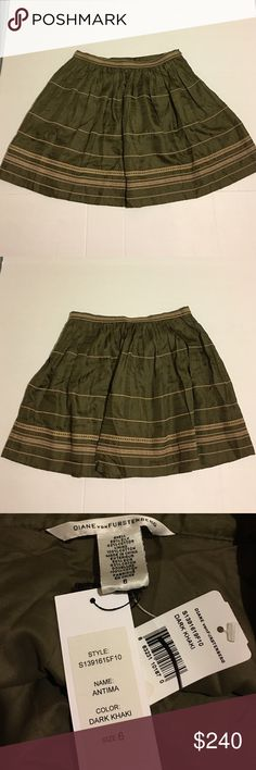 Diane von Furstenberg Dark Green Khaki Skirt 6 New with tags. Style: S1391619F10 Antima Dark Khaki shirt. Diane von Furstenberg Skirts Mini