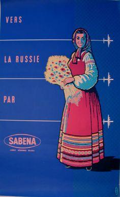 Vintage Airline Poster Sabena