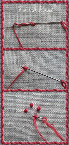 Embroidery Stitches Tutorial Tutorial: whipped running stitch and French knots Embroidery Stitches Tutorial, Crewel Embroidery Kits, Embroidery Techniques, Cross Stitch Embroidery, Machine Embroidery Designs, Embroidery Patterns, Embroidery Tattoo, Stitch Patterns, Eyebrow Embroidery