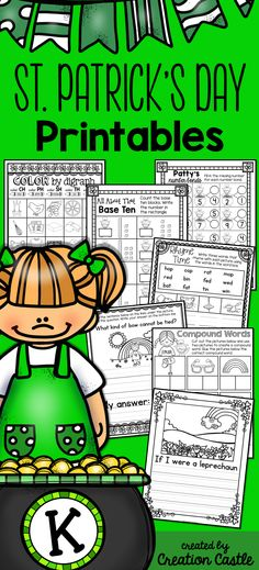 30 pages of content based printables with a fun St. Patrick's Day theme! Compound words, number bonds, digraphs, ending sounds, rhyming, skip counting, time, and much more!