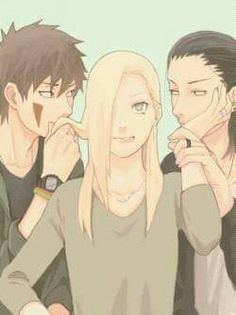 Haha - Ino, Kiba and Shikamaru ♥ Neither of them ended up together :)) #InoSai #Funny #Cute #FanArt