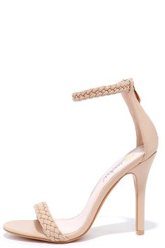 "Like all the famous star-crossed lovers before you, destiny has brought you and the Braid for Each Other Nude Ankle Strap Heels together! A sleek braided, vegan leather toe strap accents these sexy single sole heels with a matching ankle strap (with a bit of elastic). 3"" heel zipper with gold pull."