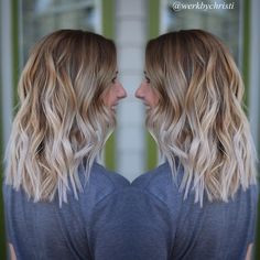 Blonde balayage ombre. Highlights. Blonde ombré. Platinum blonde. Lob haircuts. Short hair. Hairstyles. Haircolor