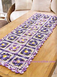 caminho de mesa em croche com vinte e quatro flores croche com receitas