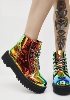 Y.R.U. Earthbound Slayr Boots will take ya to space N' back. These dope boots have a shiny color-changin' rainbow exterior, thikk black soles, and lace-up front closures. #dollskill #XXXclusive #newarrivals