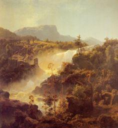 Hans Gude (1825-1903): Tessefossen I Vaga I Middagsbelysning, 1848, private collection