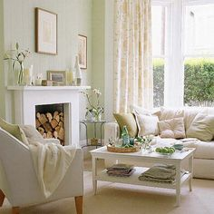 Superior Living Room Idea   White U0026 Light Green Part 28