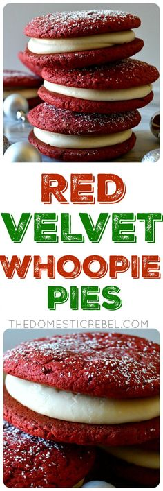 """These Red Velvet Whoopie Pies are a must make any time of year! Pillowy soft and chewy, rich red velvet """"cookies"""" sandwiched around sweet and tangy cream cheese frosting for the ultimate Southern-inspired sweet treat! Red Velvet Whoopie Pies, Red Velvet Cake Mix, Red Velvet Cookies, Chocolate Chip Recipes, Chocolate Chips, Chocolate Ganache, Mint Chocolate, No Cook Desserts, Italian Desserts"""