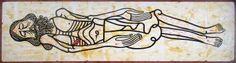 Cristo durmiendo con la ventana abierta en la isla de Holbox, Tempera, acrílico y sello de caucho sobre papel  400 x 106 cm, Curro Gómez