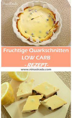 Rezept für einen kühlen Sommersnack. Und dieser hier ist noch dazu gesund und low carb! FRUCHTIGE QUARKSCHNITTEN mit blaubeern. Low fat und low carb.
