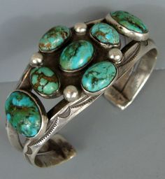 Very Early Vintage NAVAJO Ingot Silver & Turquoise Cluster Bracelet