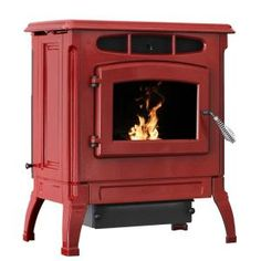 Ashley Hearth Products EPA Certified Cast Iron Pellet Stove Red Enameled Porcelain with hopper is a captivating combination of comfort and charm. Best Pellet Stove, Wood Pellet Stoves, Cabin Fireplace, Stove Fireplace, Pellet Heater, Small Wood Burning Stove, Ikea Living Room, Living Rooms, Bedrooms