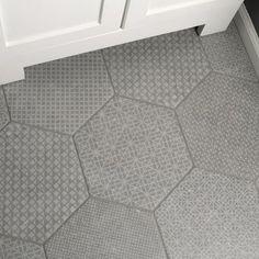 EliteTile Lunastone Hexagon x Porcelain Field Tile Color: Gray Bathroom Floor Tiles, Shower Floor, Wall Tiles, Basement Bathroom, Garage Playroom, Best Bathroom Flooring, Washroom, Bathroom Fixtures, Hexagone Tile