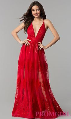 f7c7ee3761c8 Shop v-neck long formal prom dresses with double side slits at PromGirl.  A-line open-back dresses with floral-print illusion overlays and deep-v-neck  prom ...