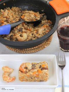 Receta de risotto de calabaza con boletus y gambones. Receta con fotos paso a paso de su elaboración y sugerencia de presentación. Receta...