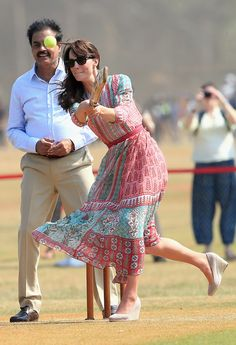 A Game of Cricket from Kate Middleton and Prince William's Royal Tour of India and Bhutan  The Duchess of Cambridge plays cricket during a visit to meet children from Magic Bus, Childline and Doorstep at Mumbai's iconic recreation ground, the Oval Maidan.