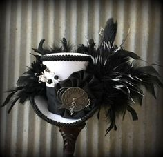 Mini Top Hat Black and White Rabbit Alice in by ChikiBird on Etsy