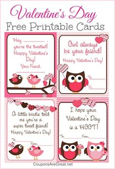 """Owl Valentine's Day cards because """"Owl always be your friend."""""""