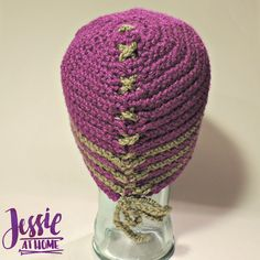 """Aunt Matilda says """"I'm making one!"""" I love the laced up detail in this hat. It is sure to stand out from the crowd! A free pattern."""