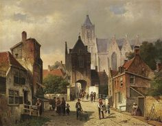 Grote kerk en Landpoort door Willem Koekkoek