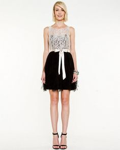 Sequin Mesh Fit & Flare Dress - Sequins and mesh ruffles come together for a flirty and feminine look.