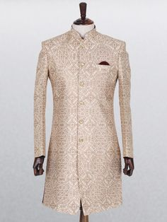 Beige Silk Wedding Wear Indo Western