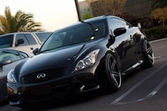 Black Infiniti G37 S with Satin Black Machined with Chrome Lip Lorenzo WL197 Wheels.  20 Inch WL197 Rims. 20x10.5 All The Way Around.