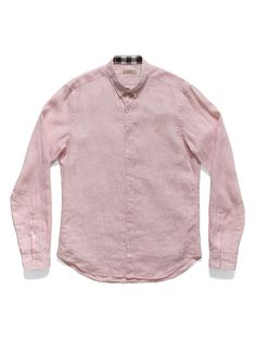 Burberry Pink Linen Shirt w/Burberry Print on Cuffs and Collar