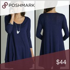 "Nefertiti Navy Tunic Color: Navy   Long sleeve A-line tunic   Model is 5'8"" wearing a small. Tops Tunics"