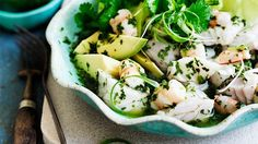 Ceviche seafood salad with avocado, coriander and chilli