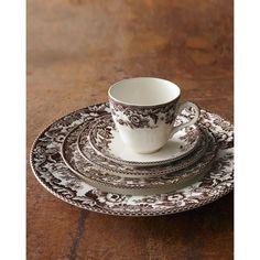 Spode 5-Piece Delamere Dinnerware Place Setting (6560 DZD) via Polyvore featuring home, kitchen & dining, dinnerware, brown dinnerware, floral dinner plates, floral salad plate, spode dinnerware et cream dinner plates
