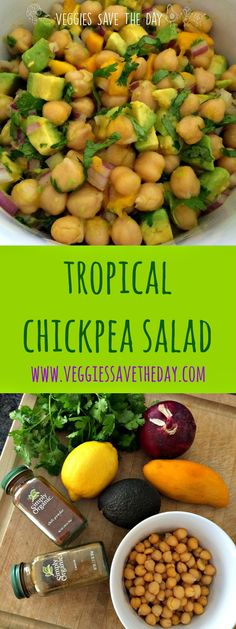 Tropical Chickpea Salad is great for lunches or potlucks. It's healthy, low-fat, and full of nutrients from mangoes and avocados. Plant-based, vegan, gluten-free, low-fat, soy-free, nut-free. Click to get the recipe, or pin and save for later!