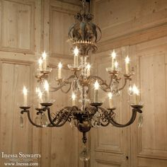 Antique Lighting | Antique Chandeliers | Wrought  Iron And Crystal Chandelier | www.inessa.com