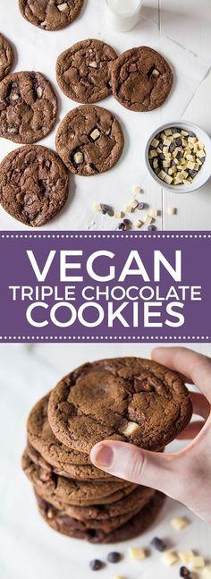 Vegan Triple Chocolate Chip Cookies More
