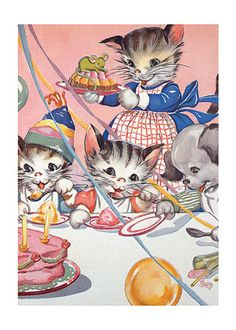 Kitty pink party retro illustration digital image by polkyanddot Vintage Birthday Cards, Vintage Greeting Cards, Birthday Greeting Cards, Vintage Postcards, Vintage Images, Birthday Greetings, Birthday Presents, Vintage Children's Books, Vintage Cat