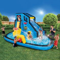 Banzai Battle Blast Adventure Park (Inflatable Water Slide and Splash Cannons) Image 2 of 6 Water Slide Bounce House, Blow Up Water Slide, Water Slides, Inflatable Water Park, Inflatable Bounce House, Kids Outdoor Play, Outdoor Toys, Outdoor Games, Outdoor Fun