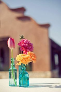 Coloured vases and contrasting flowers!