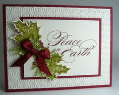 White card with crimson red trim and matting.  Classic and elegant.