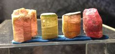 16.8 Gram Lot of 4 Terminated Watermelon Tourmaline Specimens- Himalaya Mine.