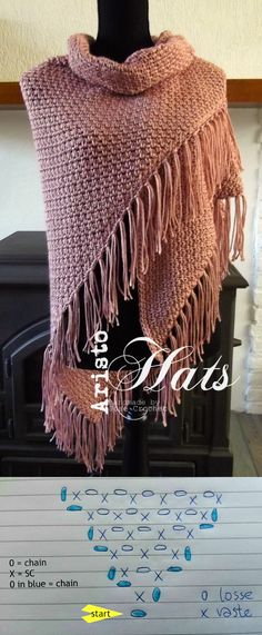 Crochet Shawl in moss stitch More